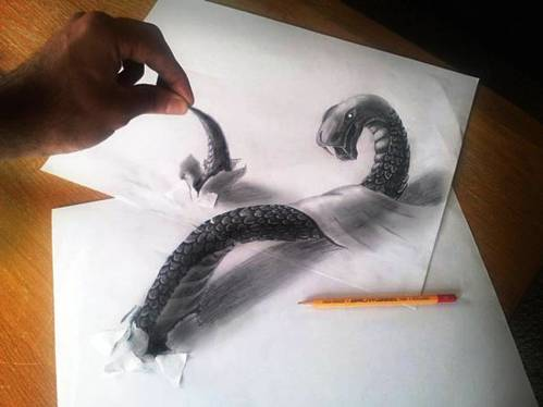 amazing 3d snake drawing